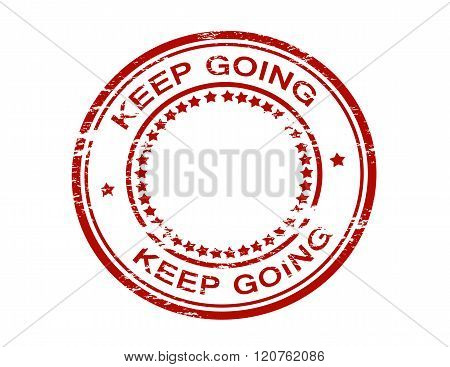 Rubber stamp with text keep going inside vector illustration