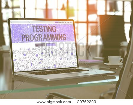 Testing Programming on Laptop in Modern Workplace Background.