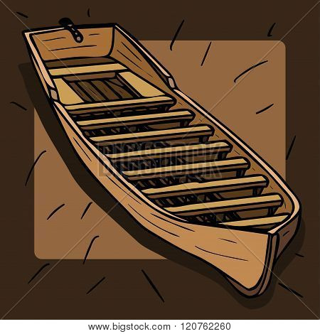 wooden boat on a brown background cartooon