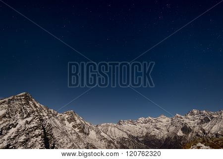 The Starry Sky Above The Alps In Winter Under Moonlight