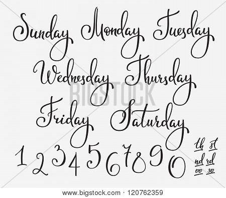 Vector Lettering Week Days Set