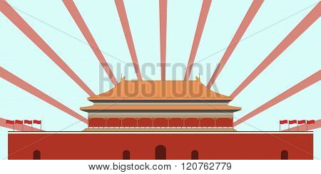 Forbidden City. Gate Of Heavenly Peace. Tiananmen Square. Beijing. Vector