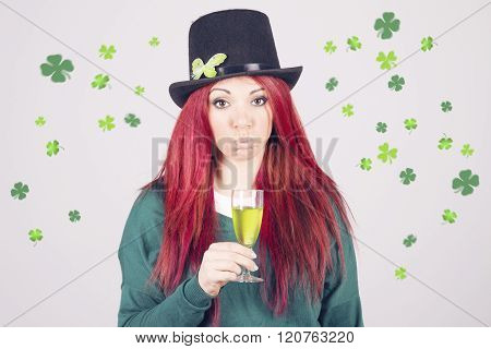 Happy Woman Celebrating Saint Patrick's Day On March 17Th