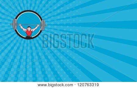Business Card Weightlifter Deadlift Lifting Weights Circle Cartoon