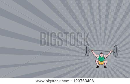 Business Card Weightlifter Deadlift Lifting Weights Cartoon