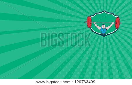 Business Card Weightlifter Deadlift Lifting Weights Shield Cartoon