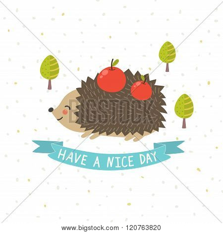 Have a nice day card with a cute hedgehog