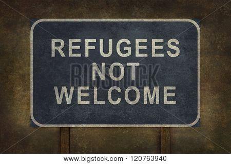 Refugees Not Welcome Roadside Sign Illustration