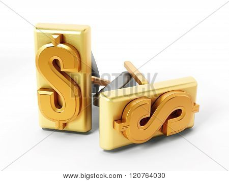 Dollar Symbol On Golden Cufflinks
