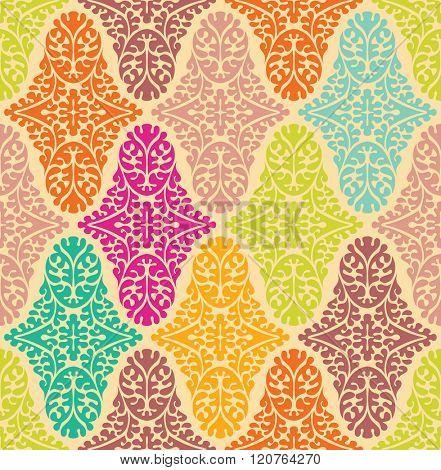 Colorfull seamless damask pattern. Ornate vintage background