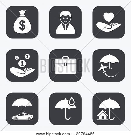 Insurance icons. Life, Real estate and House.