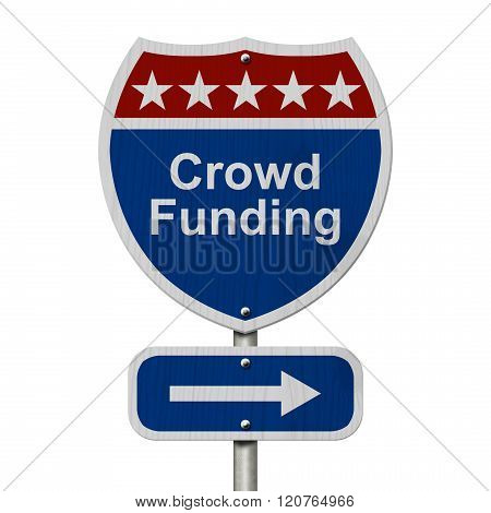 American Crowd Funding Highway Road Sign