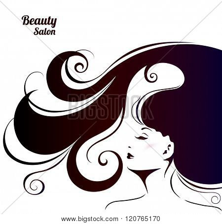 Vector Illustration for Woman Beauty Salon. Fashion Background with Young Woman for Make Up , Cosmetic and Hairstyling.