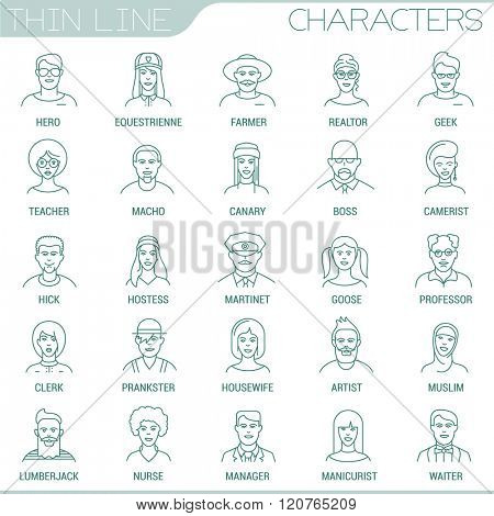 Thin line people  characters and professions vector interface icon set