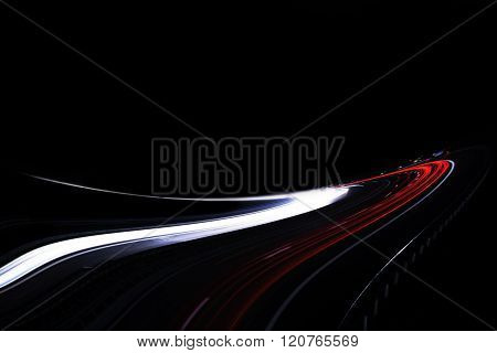 The Car's Light Trails On The Street Long Exposure