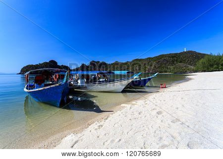 Boats At Tanjung Rhu Beach In Langkawi, Malaysia
