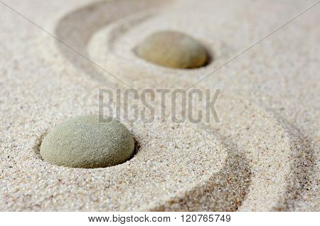 Selective Focus Of Japanese Zen Garden Meditation Stones