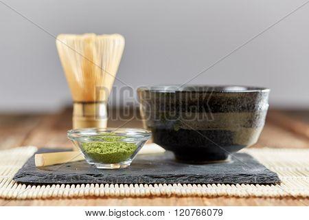 Green Matcha Powder And Tea Preparation