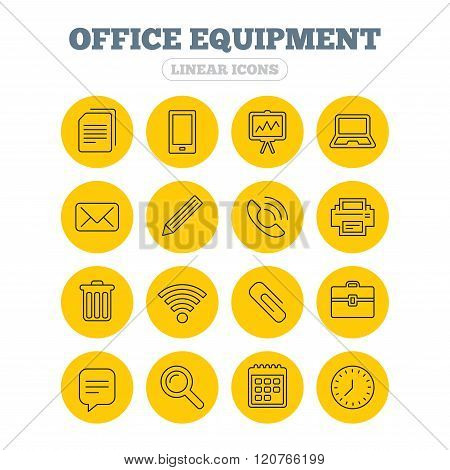 Office equipment icons. Computer and printer.