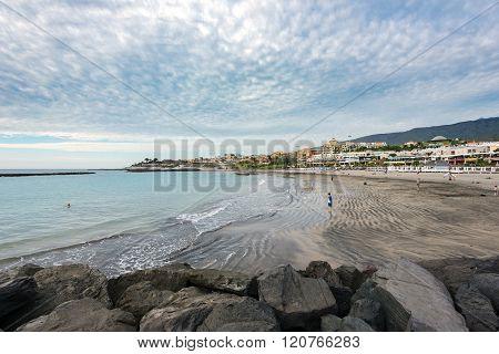 Torviscas Playa black sand beach at Tenerife island