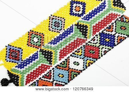 Three Zulu Beaded Bracelets In Bright Colors