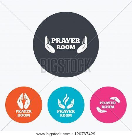 Prayer room icons. Religion priest symbols.