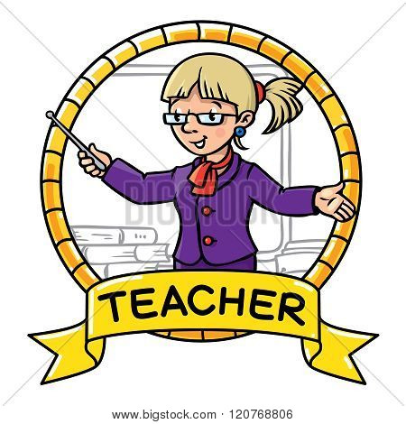 Funny teacher. Emblem. Profession ABC series