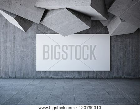 Blank advertising billboard in hall with elements of the concrete cubes