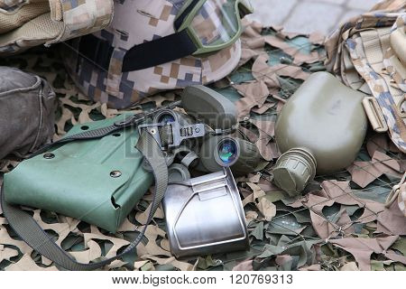 Military Flask, Pot And A Binoculars