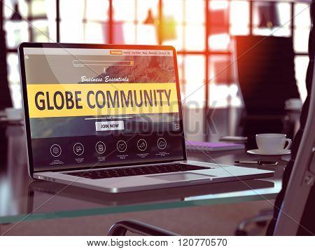 Globe Community Concept on Laptop Screen.