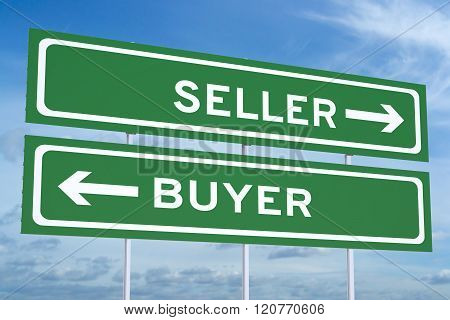 Seller Or Buyer Concept On The Road Signs