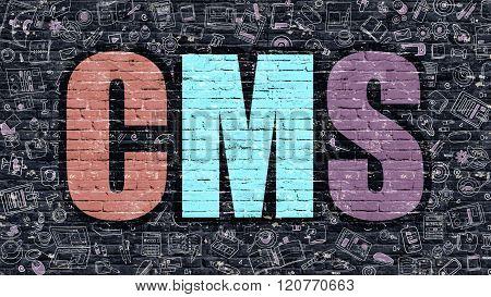 CMS in Multicolor. Doodle Design.