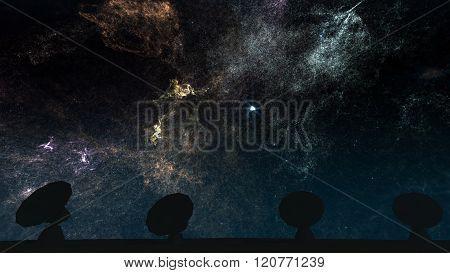 Radio Telescope Antenna Observatory Arrays Dishes Rotating At Night
