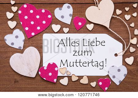 Label With Pink Heart, Muttertag Means Mothers Day