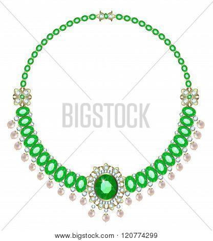 Necklace with emeralds