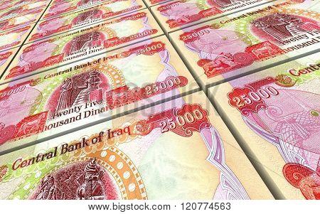Iraqi dinars bills stacked background. Computer generated 3D photo rendering.