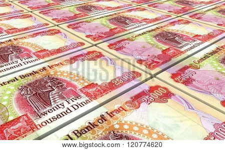 Iraqi dinars bills stacked background. Computer generated 3D photo rendering.
