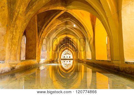 Royal Bathroom in Alcazar of Sevilla, Seville Spain