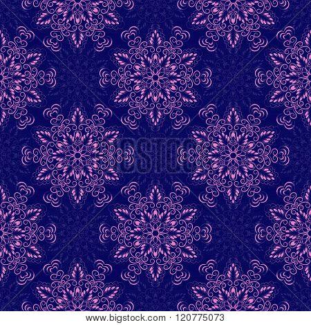Vector Seamless Mandala Pattern over dark blue