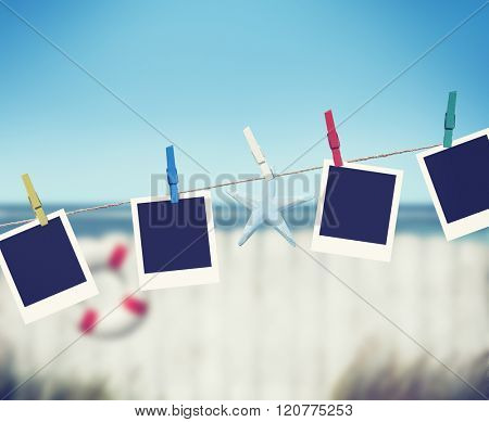Photo Picture Starfish Hanging Peg Sea Ocean Buoy Concept