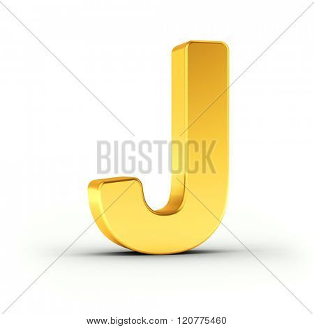 The Letter J as a polished golden object over white background with clipping path for quick and accurate isolation.