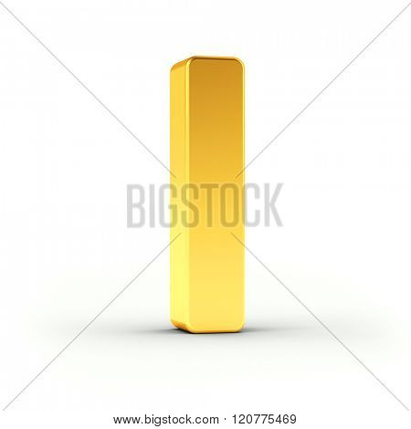 The Letter I as a polished golden object over white background with clipping path for quick and accurate isolation.