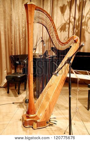 Harp And Piano On Stage Before The Concert