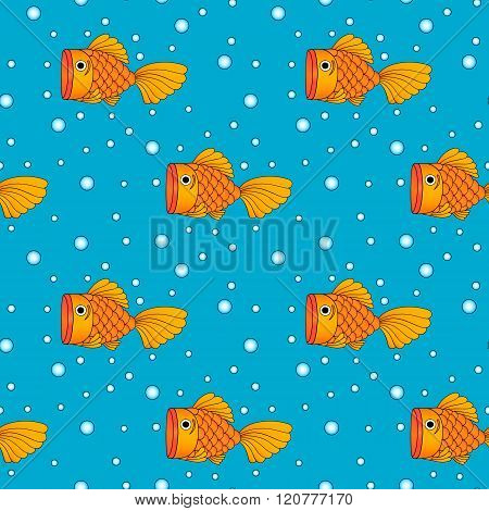 vector of golden fish with bubble in water seamless background pattern
