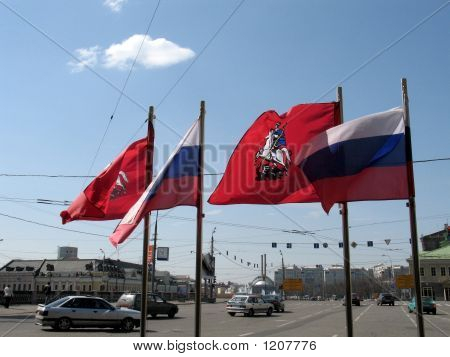 Moscow Street With Flags