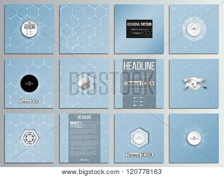 Set of 12 creative cards, square brochure template design. Chemistry pattern, hexagonal design vecto