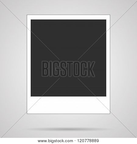 Vector blank polaroid instant photo card on white. Flat icon polaroid photo card for your designs