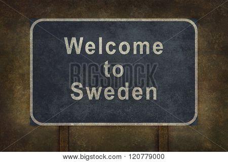 Welcome To Sweden Roadside Sign Illustration