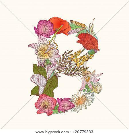 Floral Alphabet. Letter B