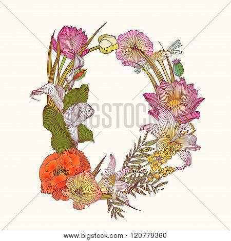 Floral Alphabet. Letter D